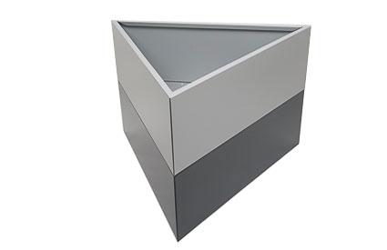 Jardinière triangulaire gris et gris anthracite